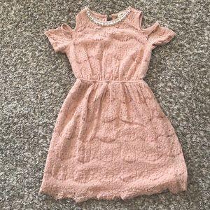 Cold shoulder lace detail dress, girls size 10.